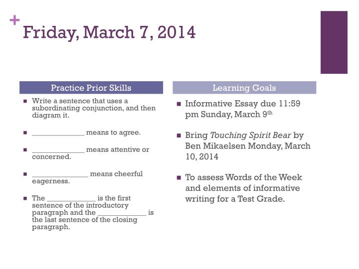 Friday, March 7, 2014