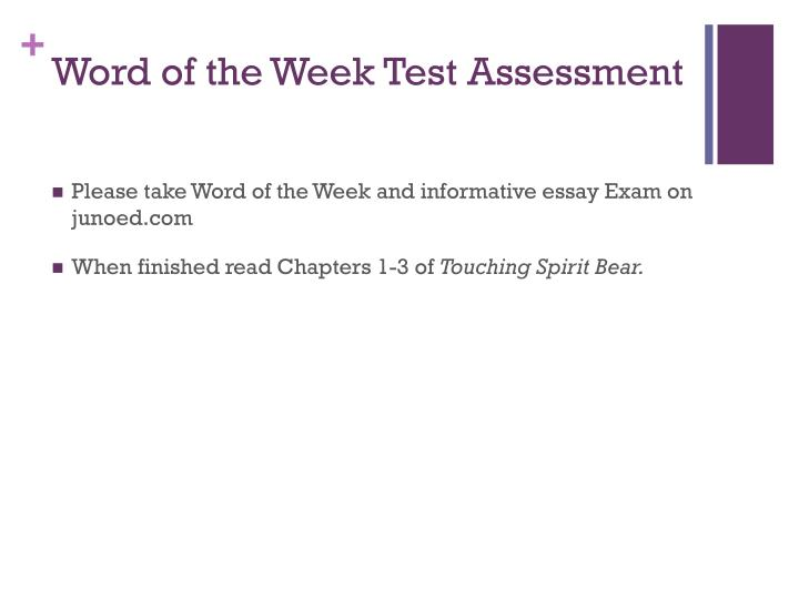 Word of the Week Test Assessment