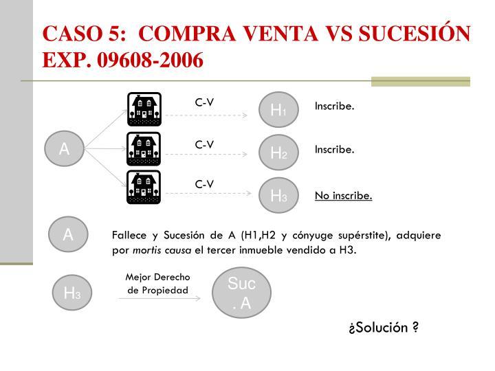 CASO 5:  COMPRA VENTA VS SUCESIÓN