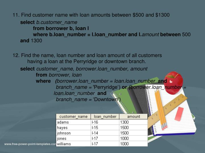 11. Find customer name with loan amounts between $500 and $1300