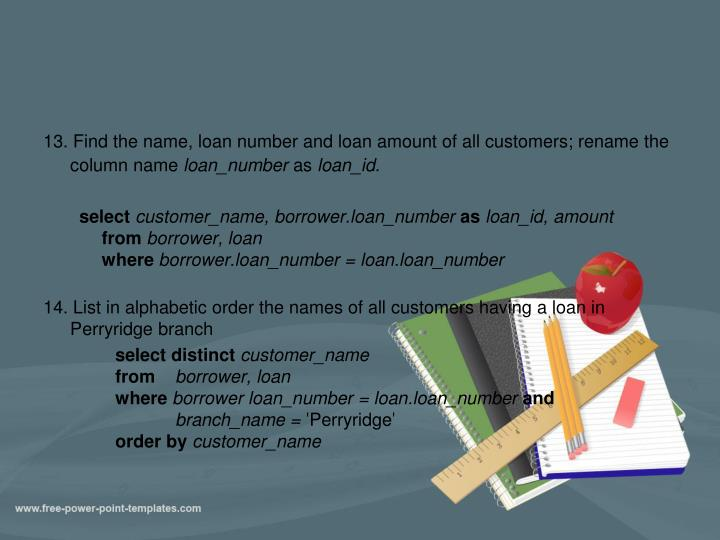 13. Find the name, loan number and loan amount of all customers; rename the column name