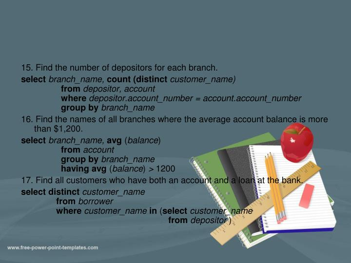 15. Find the number of depositors for each branch.