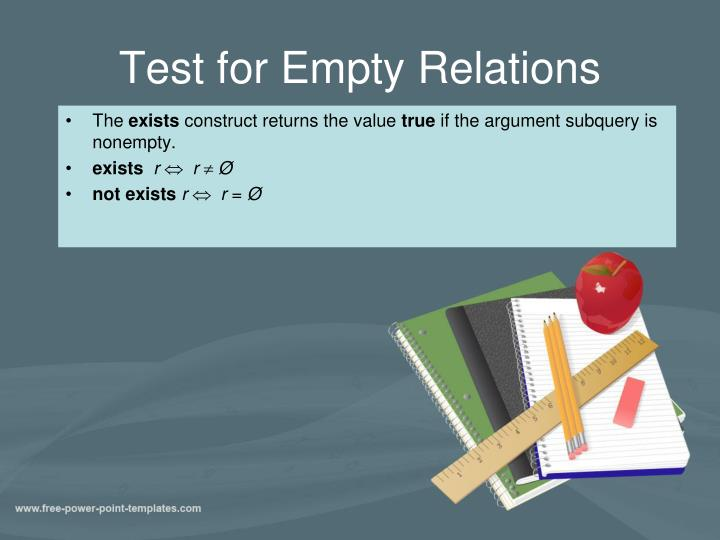 Test for Empty Relations