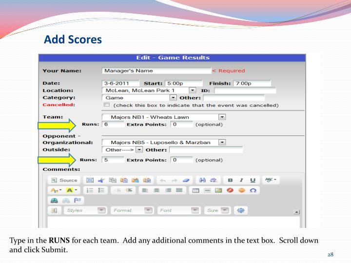 Add Scores