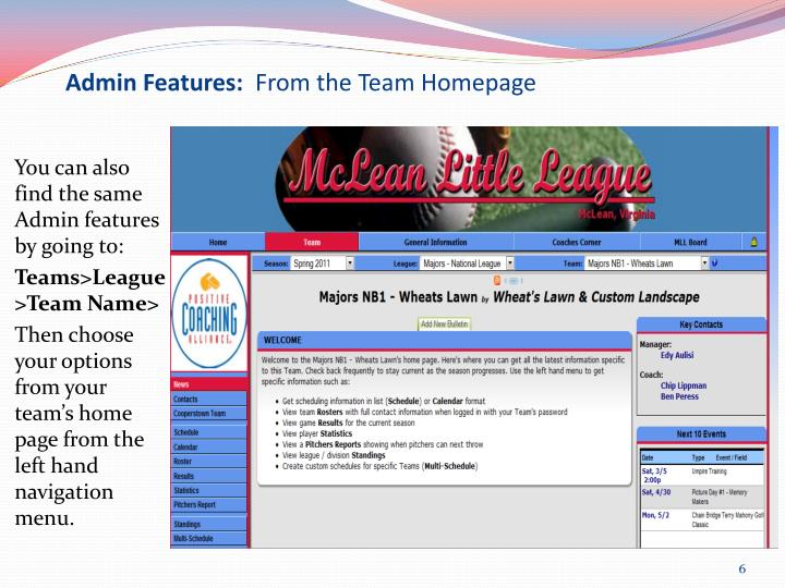 Admin Features: