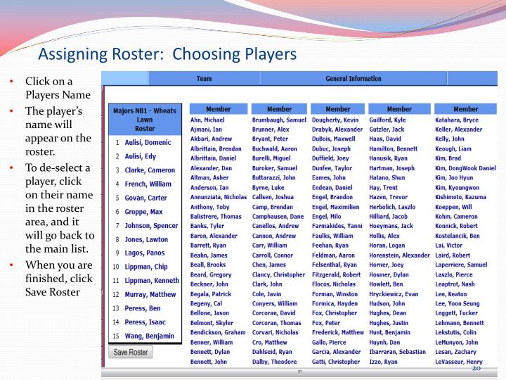 Assigning Roster:  Choosing Players