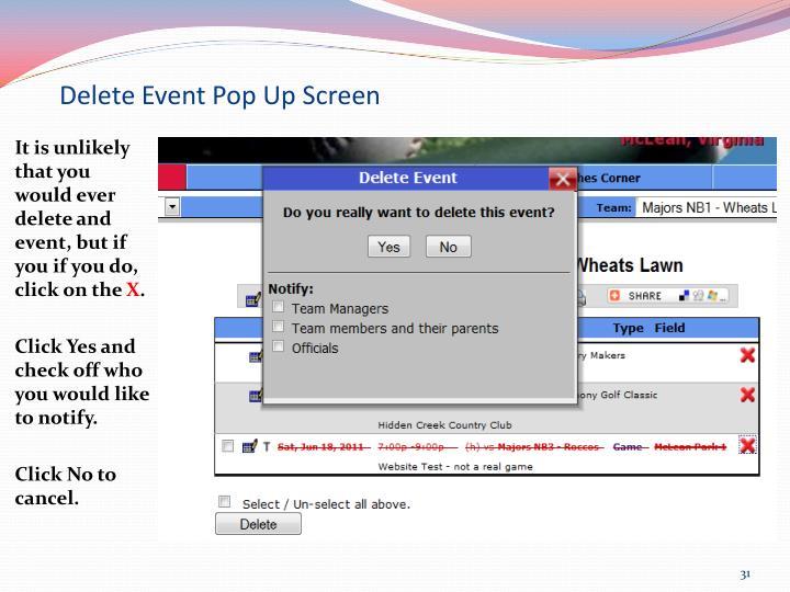Delete Event Pop Up Screen