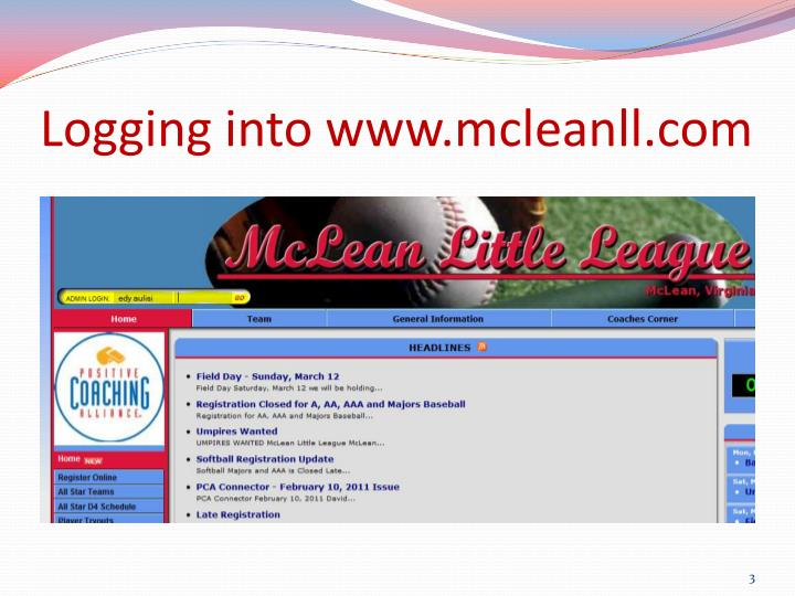Logging into www.mcleanll.com