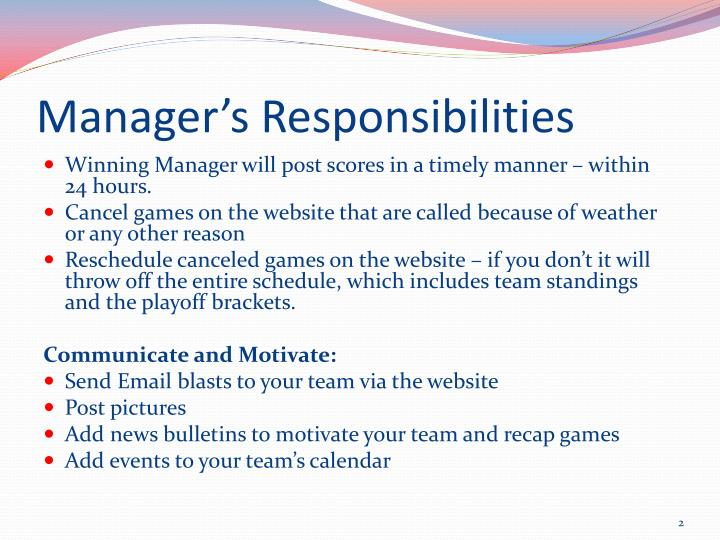 Manager's Responsibilities