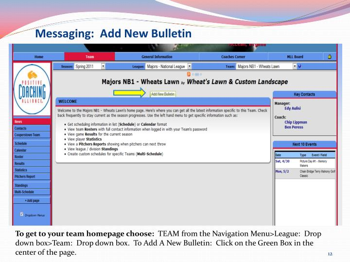 Messaging:  Add New Bulletin