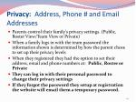 privacy address phone and email addresses