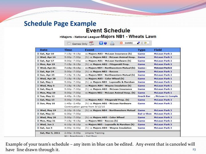 Schedule Page Example