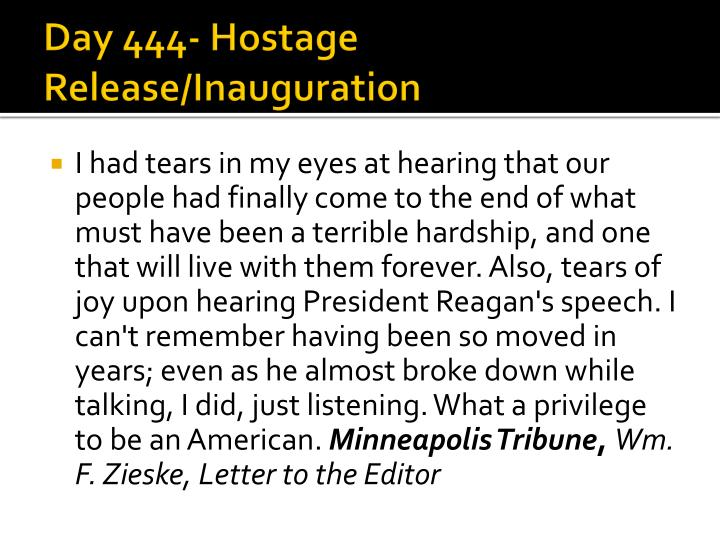 Day 444- Hostage Release/Inauguration