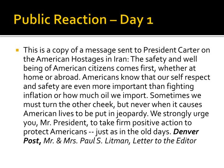 Public Reaction – Day 1