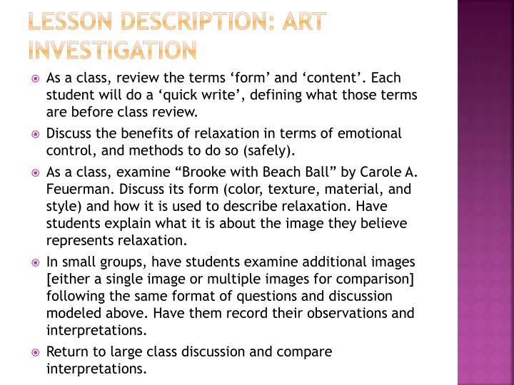Lesson Description: Art Investigation