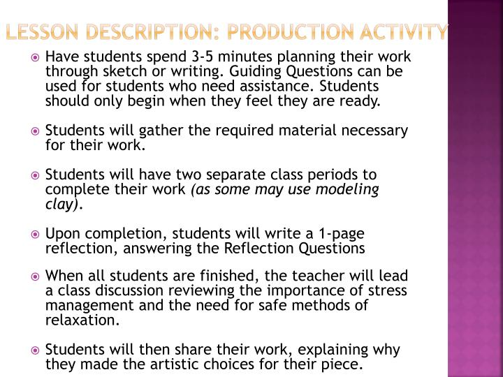 Lesson Description: Production Activity
