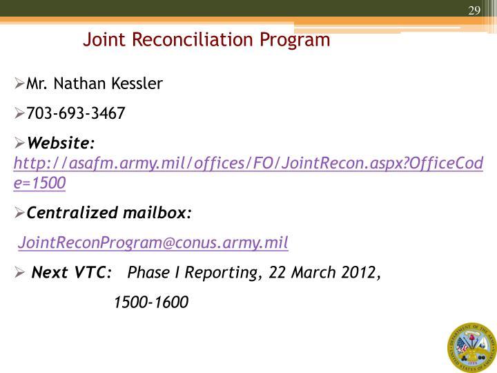 Joint Reconciliation Program