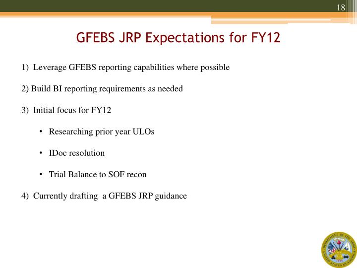 GFEBS JRP Expectations for FY12