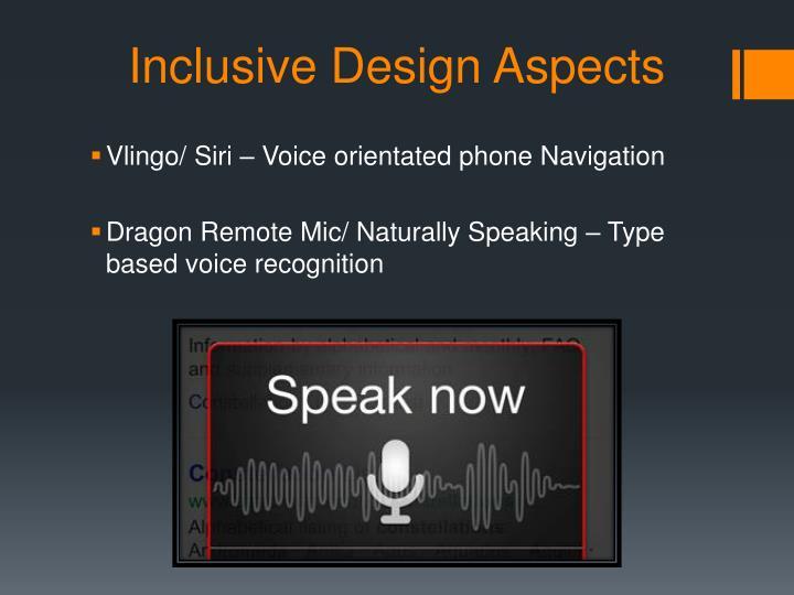 Inclusive Design Aspects
