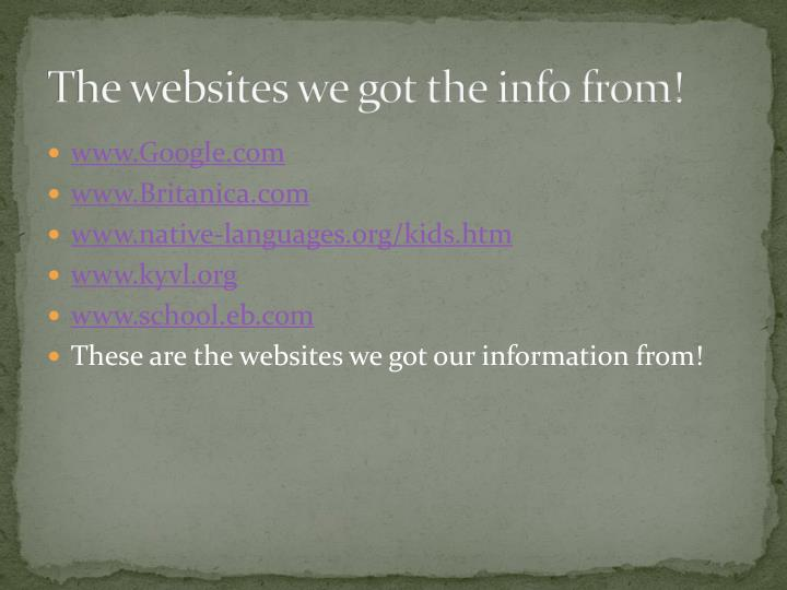 The websites we got the