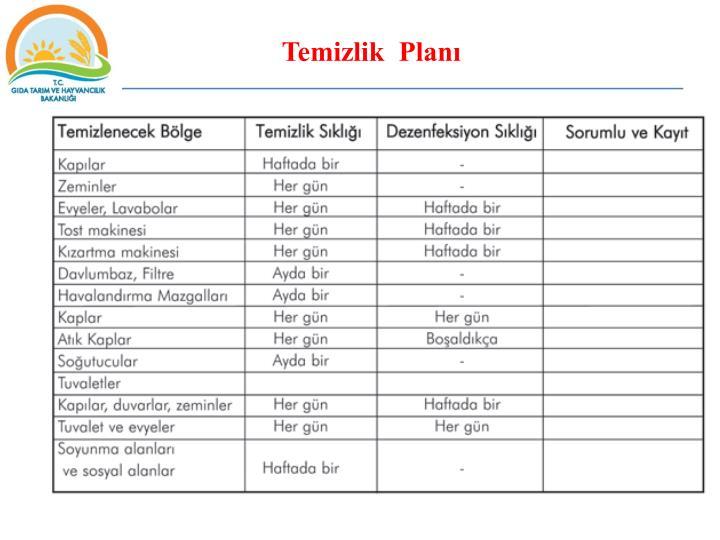 Temizlik  Planı