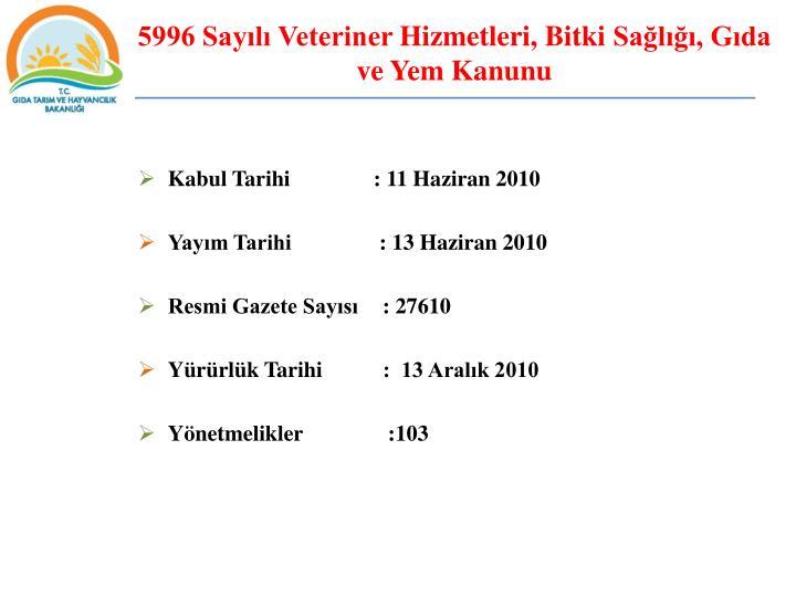 5996 Sayılı Veteriner