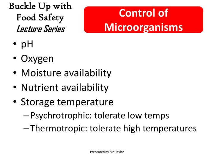 Control of Microorganisms