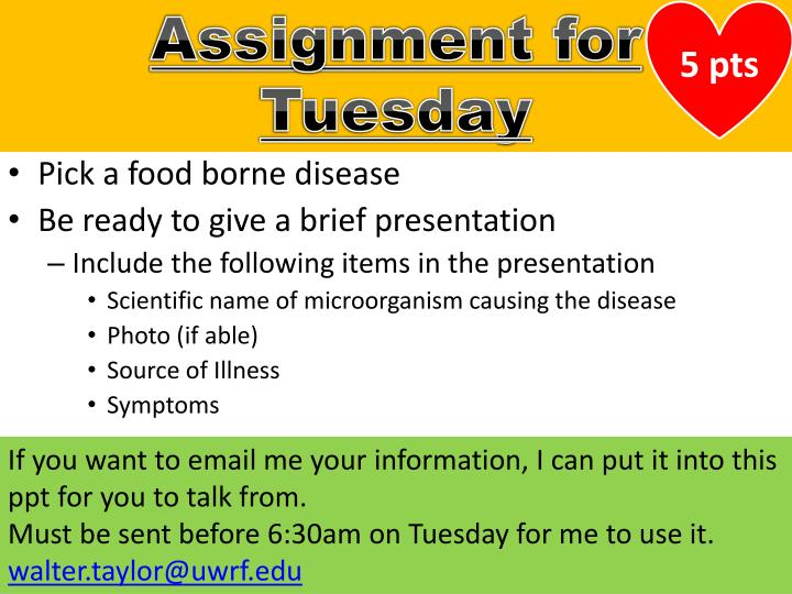 Assignment for Tuesday