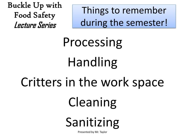 Things to remember during the semester!