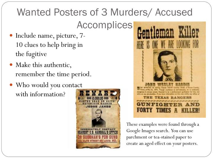 Wanted Posters of 3 Murders/ Accused Accomplices