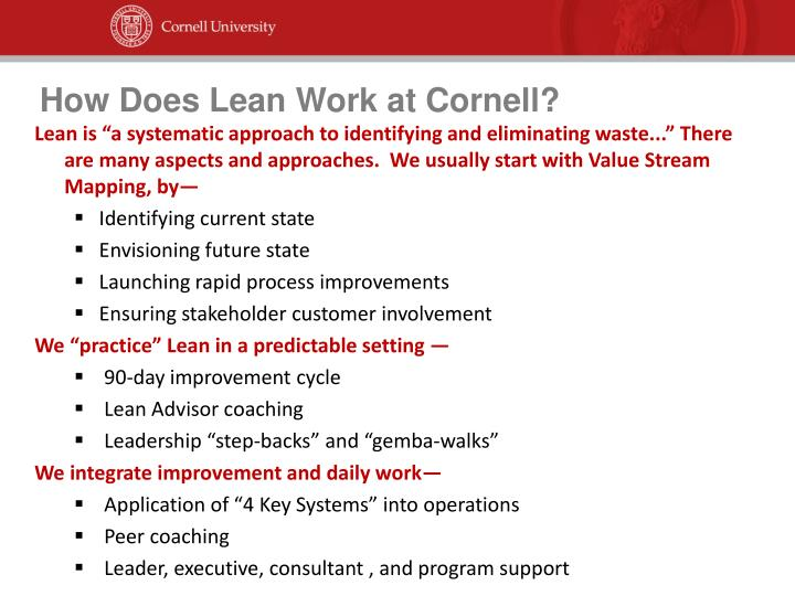 How Does Lean Work at Cornell?