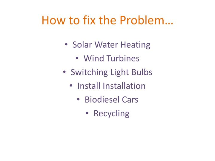 How to fix the Problem…