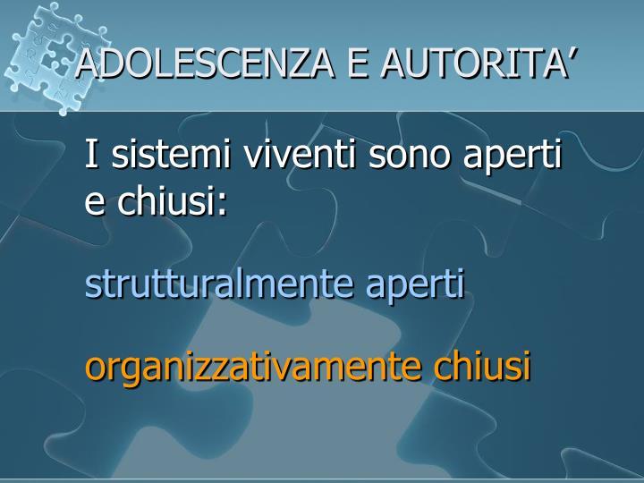 ADOLESCENZA E AUTORITA'