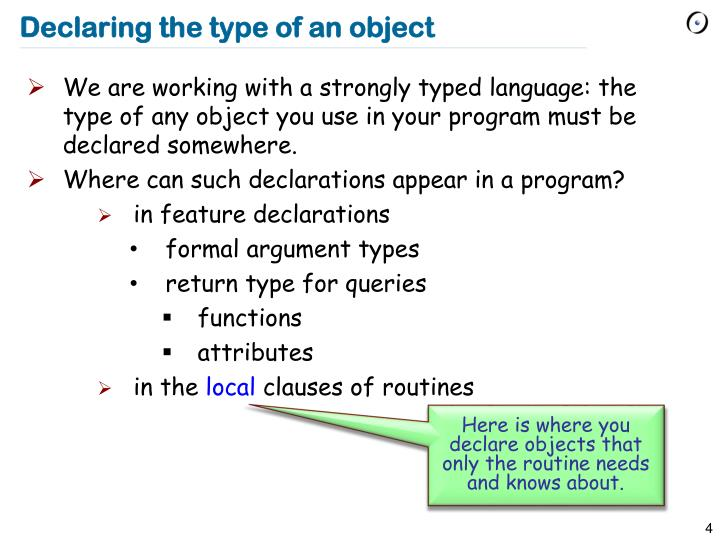 Declaring the type of an object