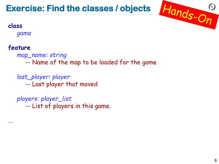 Exercise: Find the classes / objects