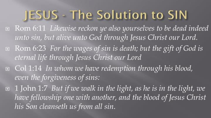 JESUS - The Solution to SIN