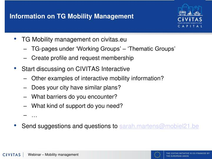Information on TG