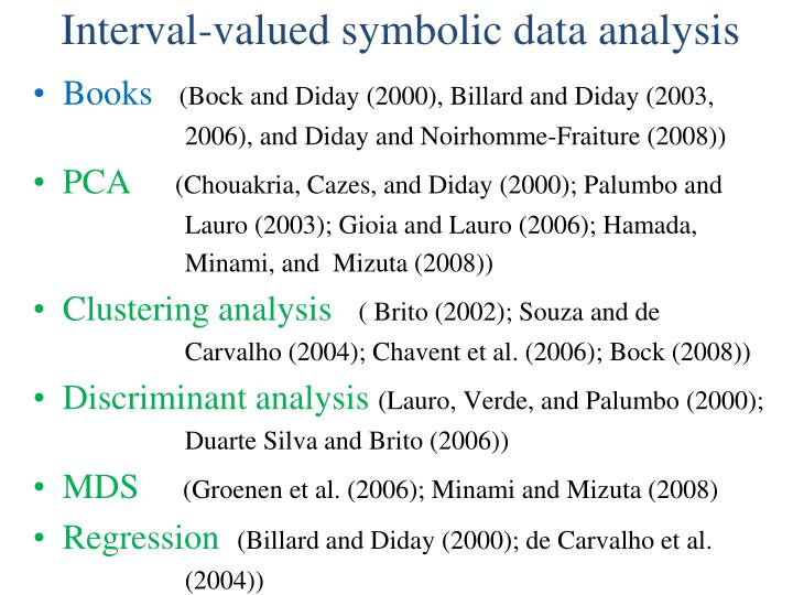 Interval-valued symbolic data analysis