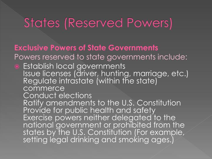 States (Reserved Powers)
