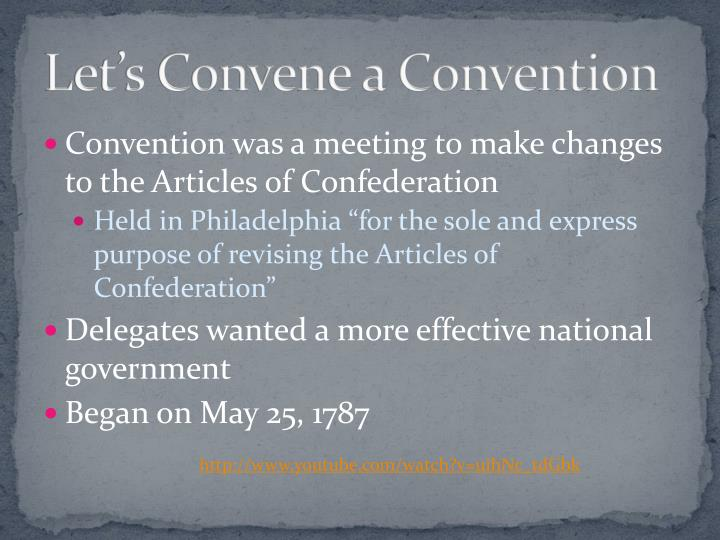 Let s convene a convention