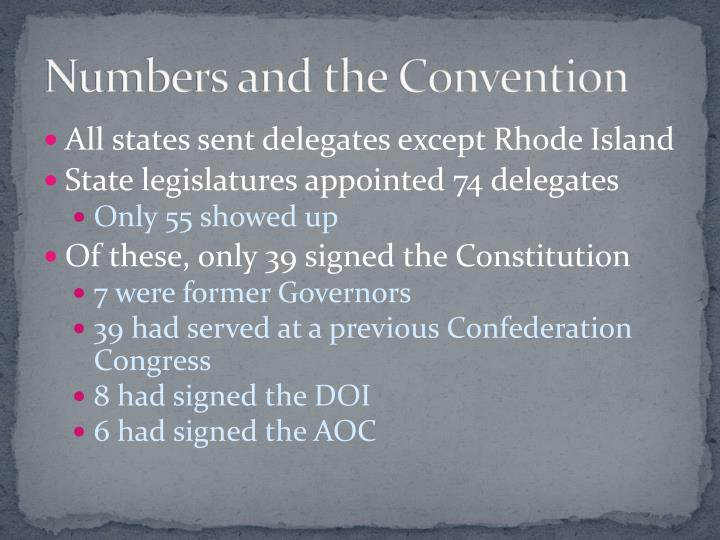 Numbers and the convention