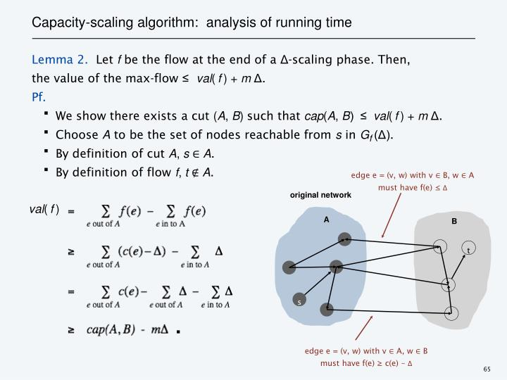 Capacity-scaling algorithm:  analysis of running time