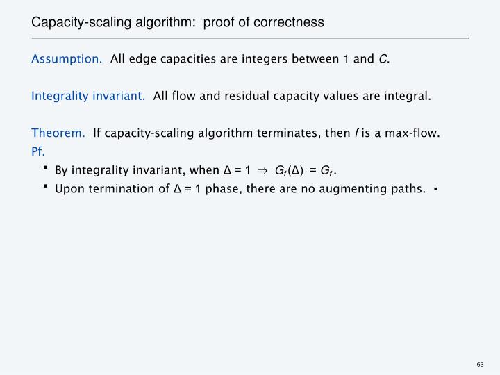 Capacity-scaling algorithm:  proof of correctness