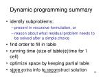 dynamic programming summary