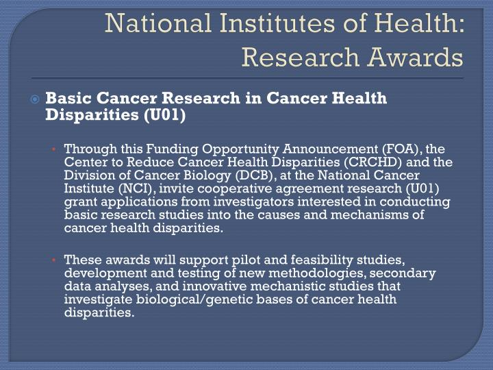 National Institutes of Health:  Research Awards