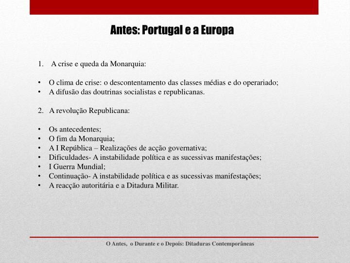 Antes: Portugal e a Europa