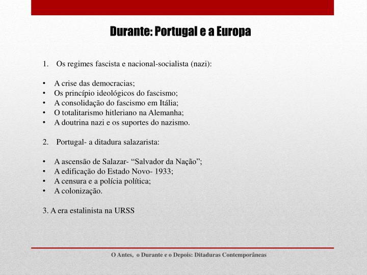 Durante: Portugal e a Europa