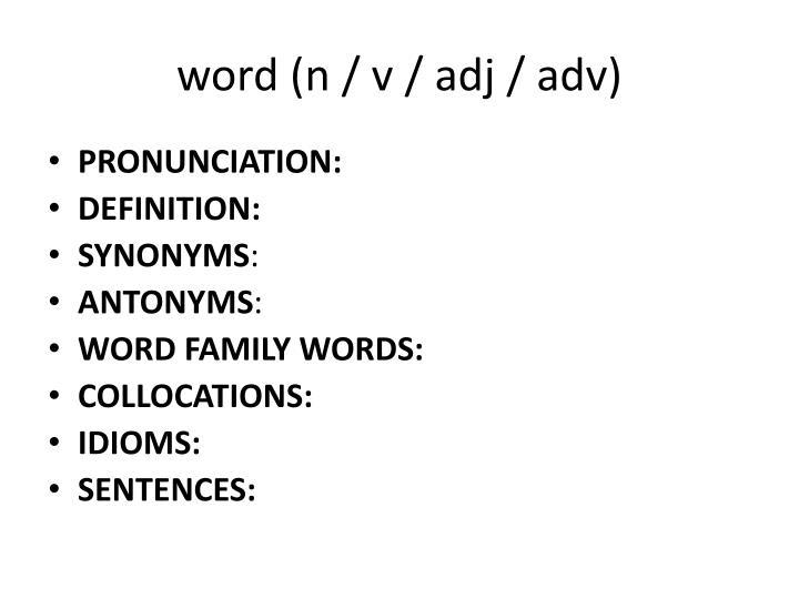 word (n / v /