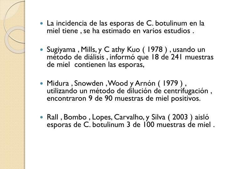 La incidencia de las esporas de C.