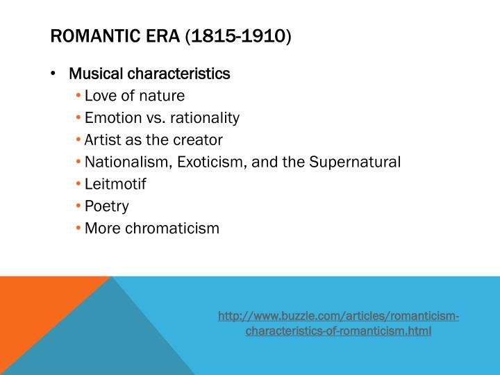romantic age audio characteristics